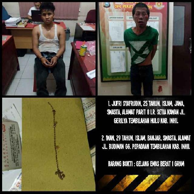 Dua Pelaku Jambret di Inhil Dibekuk Polisi Setelah Terjatuh